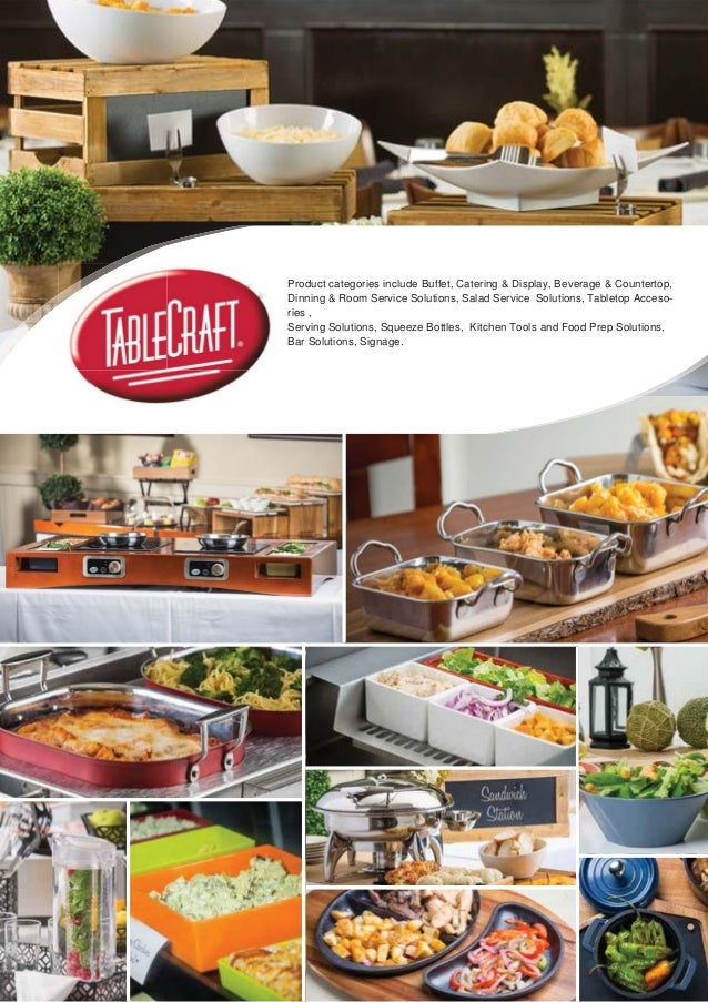Product categories include Buffet, Catering & Display, Beverage & Countertop, Dinning & Room Service Solutions, Salad Serv...