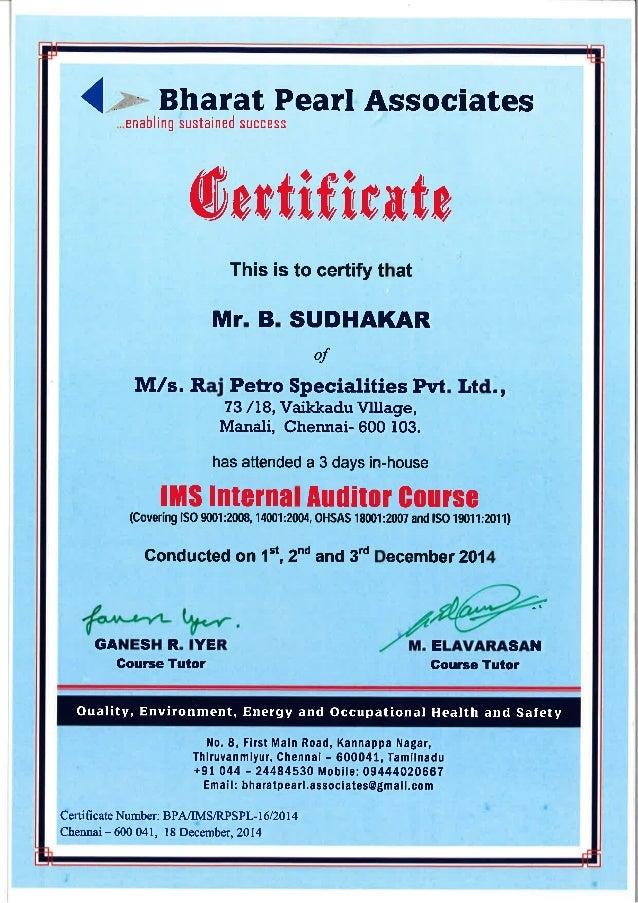ims certificate
