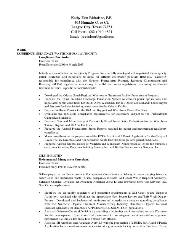 Resume of Kathy Fain Richolson 2015 (1)
