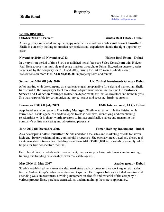 Sample Real Estate Resume | Resume Samples And Resume Help
