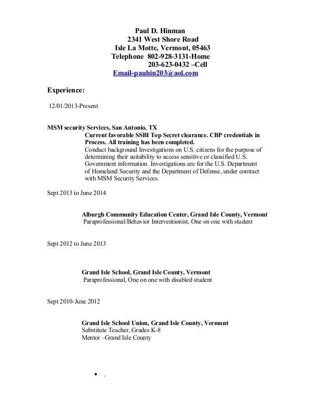 H831 Hinman Cbp Resume Resume