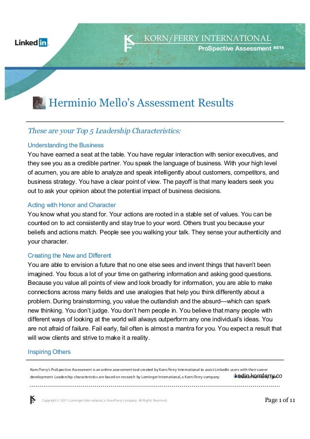 assessment by korn ferry herminio mello