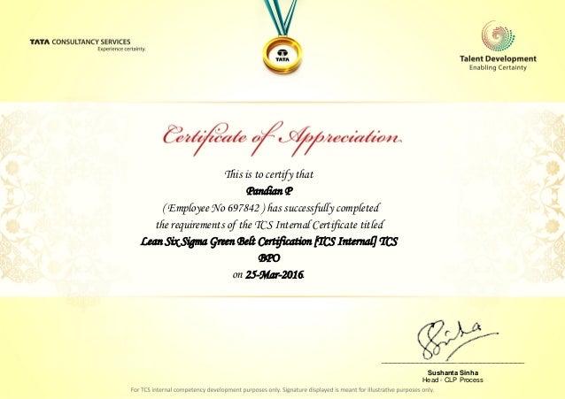 Lean Six Sigma Green Belt Certification [TCS Internal] TCS E-certfica…