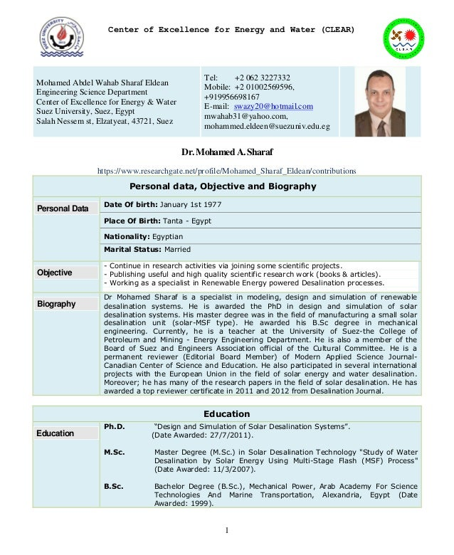 Dr M.A. Sharaf CV clear