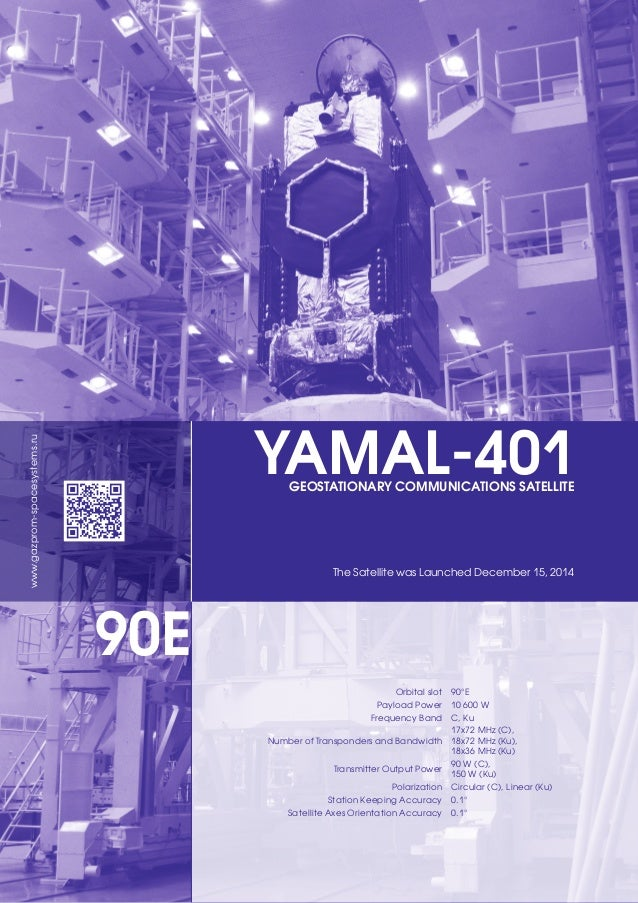 YAMAL-401GEOSTATIONARY COMMUNICATIONS SATELLITE The Satellite was Launched December 15, 2014 Orbital slot 90°E Payload Pow...