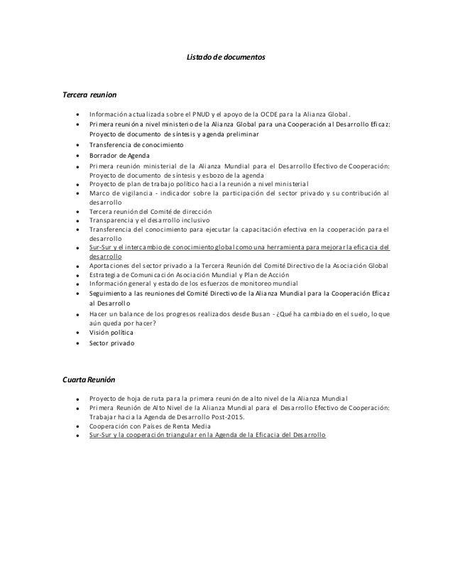 Listado de documentos Tercera reunion  Información actualizada sobre el PNUD y el apoyo de la OCDE para la Alianza Global...