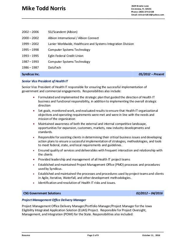 Mike Todd Noris - Resume - 110116 Slide 2