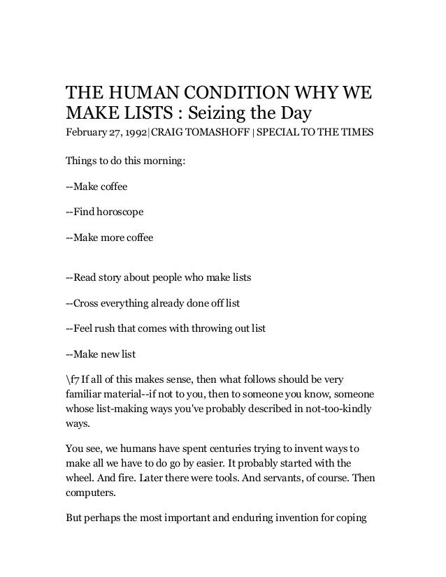 THE HUMAN CONDITION WHY WE MAKE LISTS