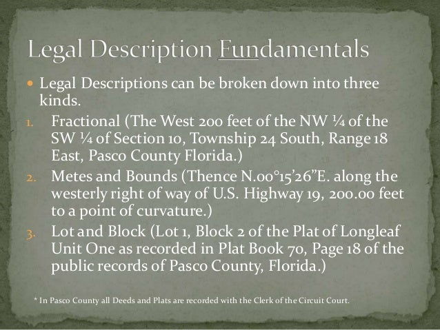 Legal Descriptions a guide to reading and writing