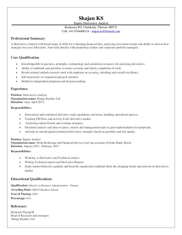 Derivatives Analyst Resume