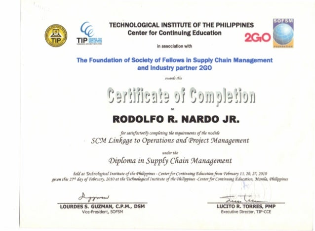 7. POST GRAD CERTIFICATE. SCM LINKAGE TO OPERATIONS AND PROJECT MANAG…