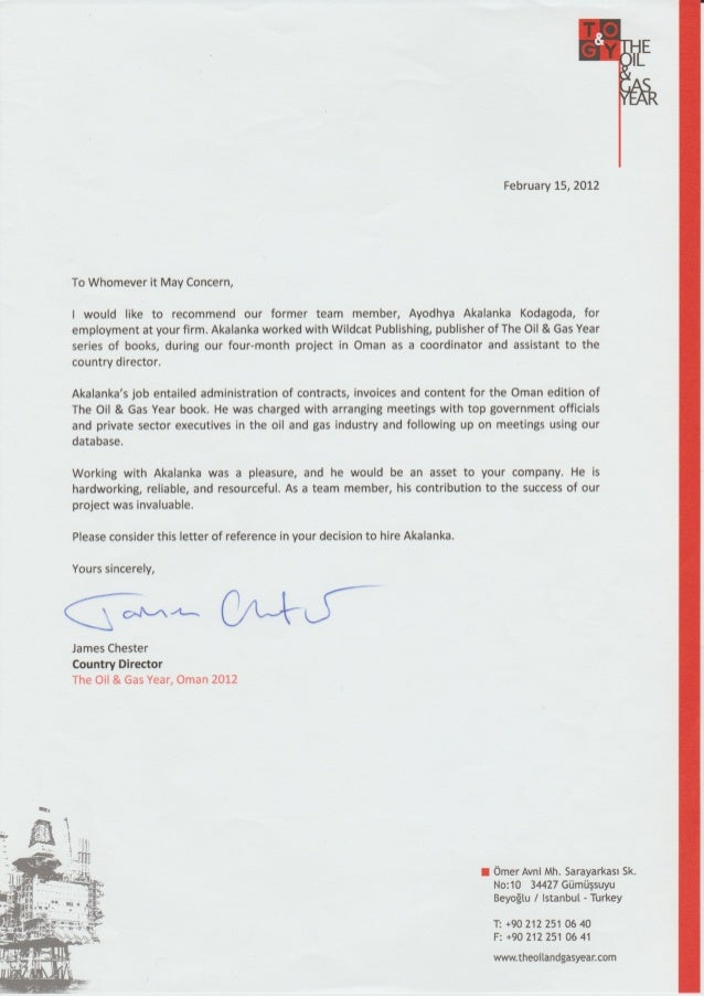 Reference letter from The Oil & Gas Year, Oman