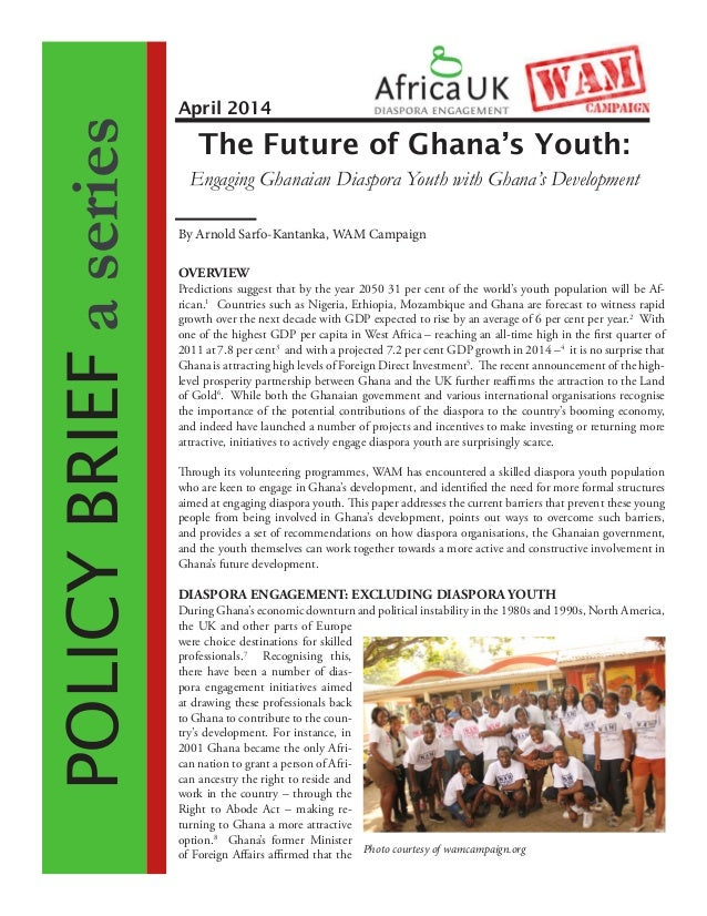 POLICYBRIEFaseries OVERVIEW Predictions suggest that by the year 2050 31 per cent of the world's youth population will be ...