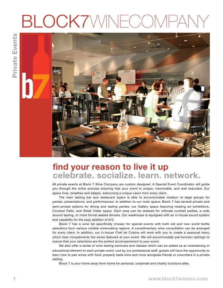 BLOCK7WINECOMPANY Private Events                              find your reason to live it up                          cele...