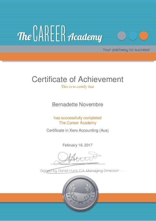 Certificate In Xero Accounting Bernadette Novembre 16feb17