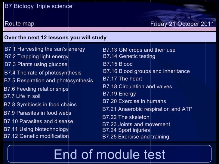 B7 Biology 'triple science'  Route map Over the next 12 lessons you will study : Friday 21 October 2011 B7.1 Harvesting th...