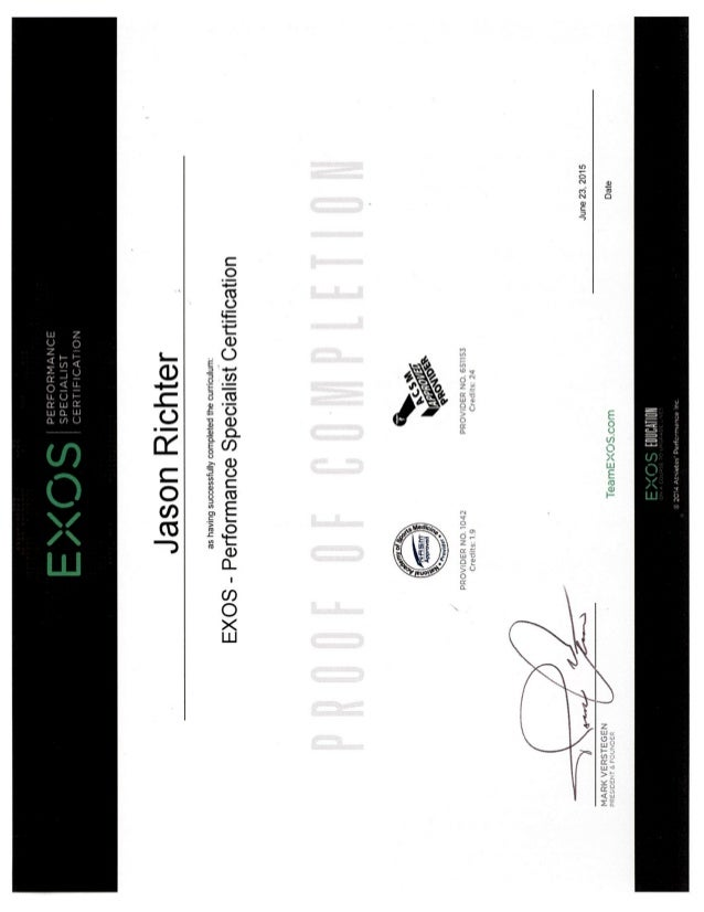 Jason Richter EXOS XPS Cert