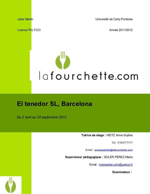 Jules Martin Université de Certy Pontoise Licence Pro TCCI Année 2011/2012 Tutrice de stage : HEITZ Anne Sophie Tel : 0183...