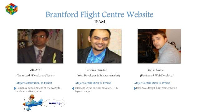 Brantford Flight Centre Website TEAM Zia Atif (Team Lead / Developer / Tester) Major Contribution To Project Design & deve...