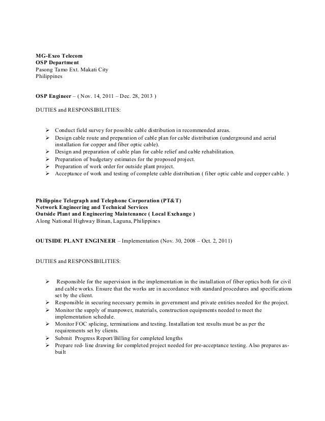 3 - Outside Plant Engineer Sample Resume