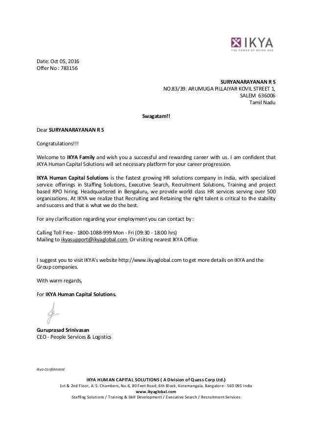 Offer Letter Offer Letters Job Offer Letter Template Sample Offer