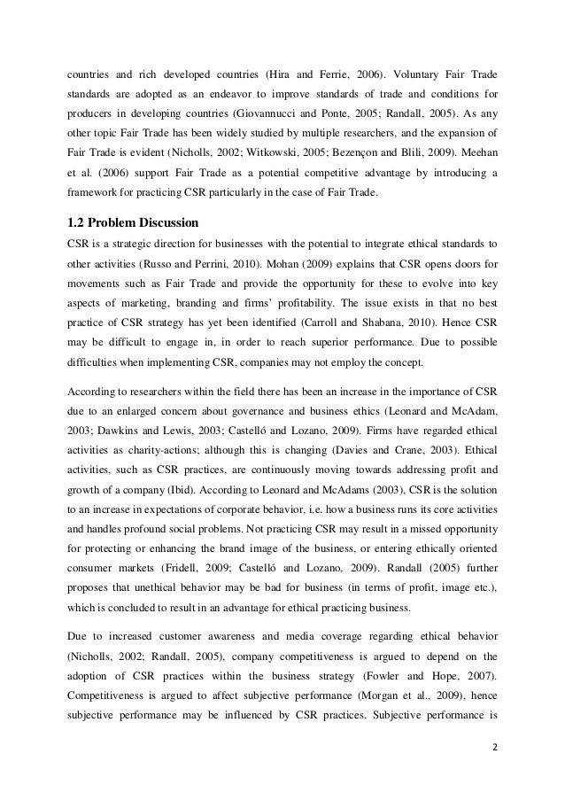 csr in developing countries thesis Corporate social responsibility: a case study on  leading me to write my thesis on csr,  developing countries where supplies.