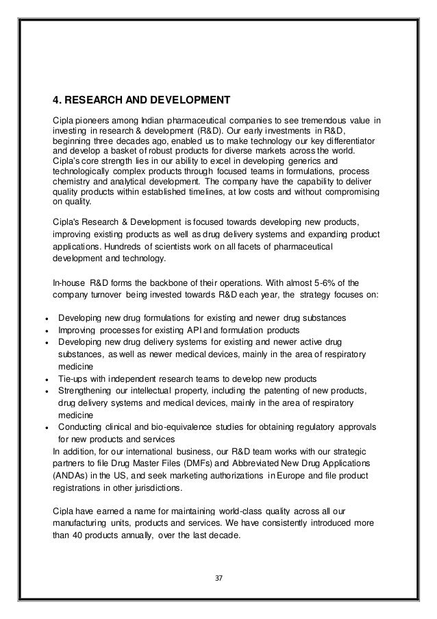 747459d5f5b2f ... relations Event management  37. 37 4. RESEARCH AND DEVELOPMENT Cipla  pioneers among Indian pharmaceutical ...