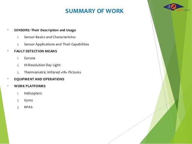 SUMMARY OF WORK • SENSORS: Their Description and Usage 1. Sensor Basics and Characteristics 2. Sensor Applications and The...