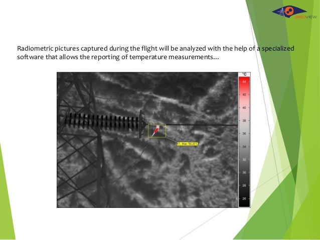 Radiometric pictures captured during the flight will be analyzed with the help of a specialized software that allows the r...