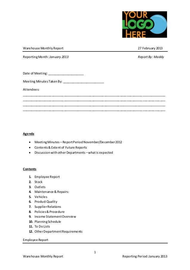 Example Warehouse Monthly Report Template – Monthly Report Template