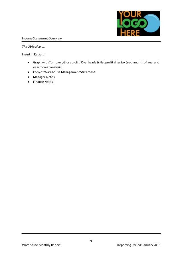 Example Warehouse Monthly Report Template – Turnover Report Template