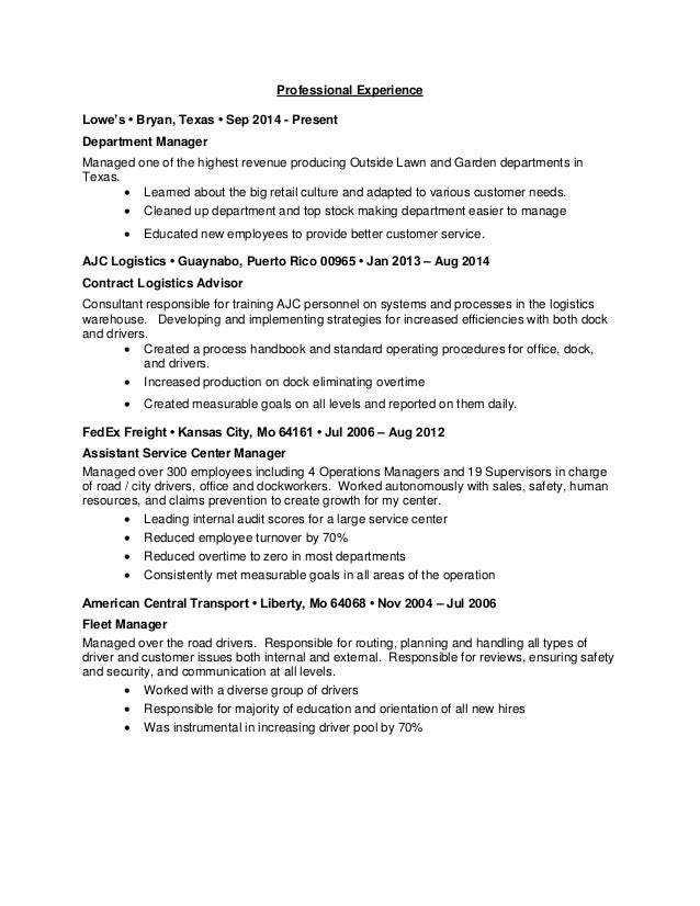 Resume for lowes examples