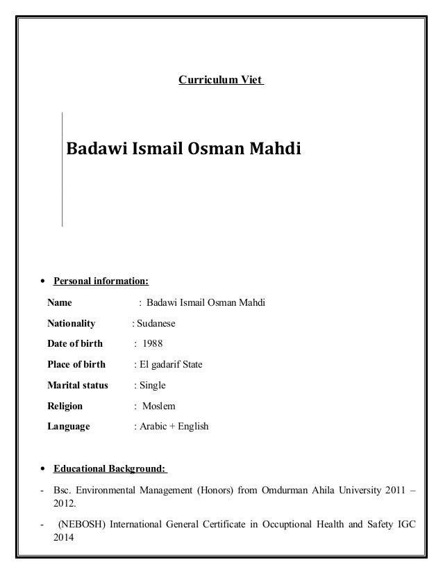 Curriculum Viet O Personal Information Name Badawi Ismail Osman Mahdi Nationality Sudanese Date