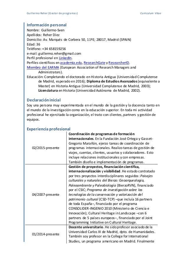 Excepcional Programa De Curriculum Vitae Fotos - Colección De ...