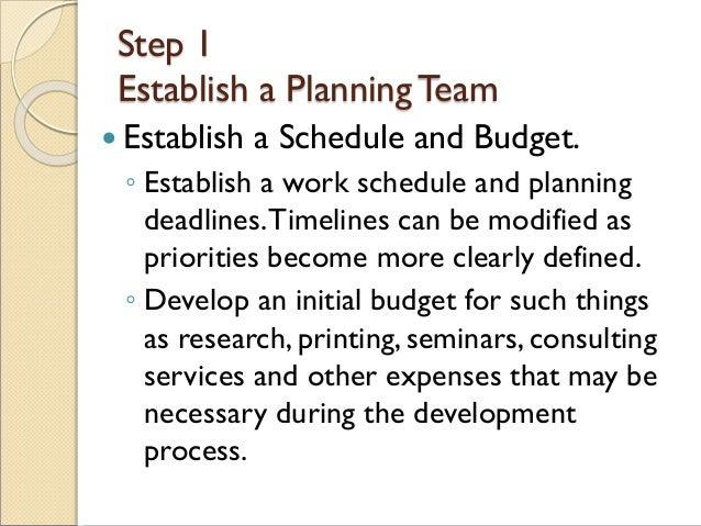 Step 1 Establish a PlanningTeam  Establish a Schedule and Budget. ◦ Establish a work schedule and planning deadlines.Time...
