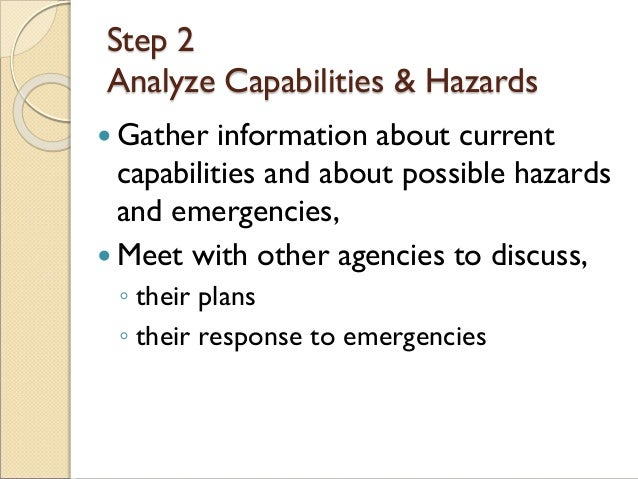Step 2 Analyze Capabilities & Hazards  Gather information about current capabilities and about possible hazards and emerg...