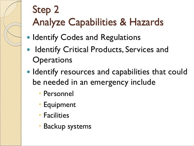 Step 2 Analyze Capabilities & Hazards  Identify Codes and Regulations  Identify Critical Products, Services and Operatio...