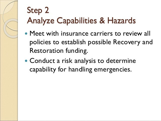 Step 2 Analyze Capabilities & Hazards  Meet with insurance carriers to review all policies to establish possible Recovery...