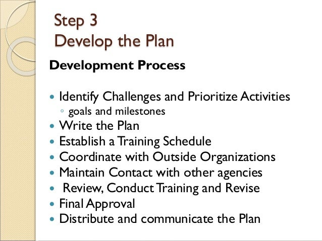 Step 3 Develop the Plan Development Process  Identify Challenges and Prioritize Activities ◦ goals and milestones  Write...