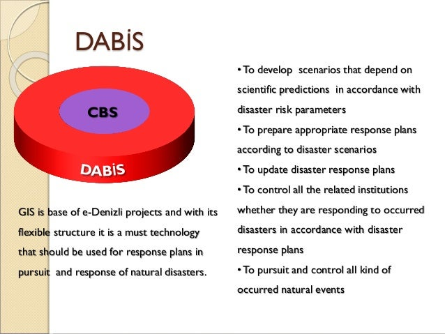 DABİS •To develop scenarios that depend on scientific predictions in accordance with disaster risk parameters •To prepare ...