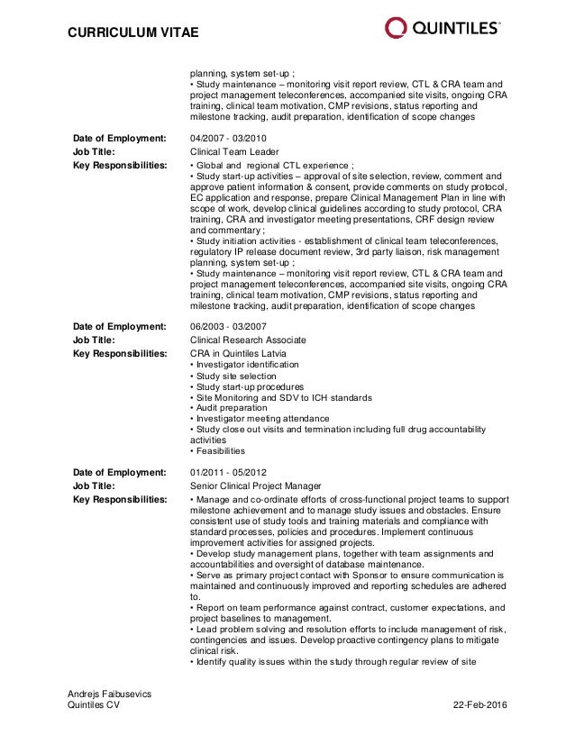 quintiles cv andrejs faibusevics_22 feb 2016 - Clinical Research Associate  Sample Resume