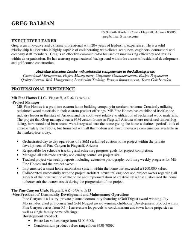 greg balman professional resume 2014 greg balman 2609 south bluebird court flagstaff arizona 86005 gregbalman - What Should A Professional Resume Look Like