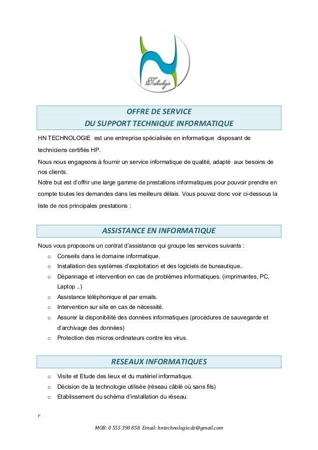 r MOB: 0 555 398 858 Email: hntechnologie.dz@gmail.com OFFRE DE SERVICE DU SUPPORT TECHNIQUE INFORMATIQUE HN TECHNOLOGIE e...
