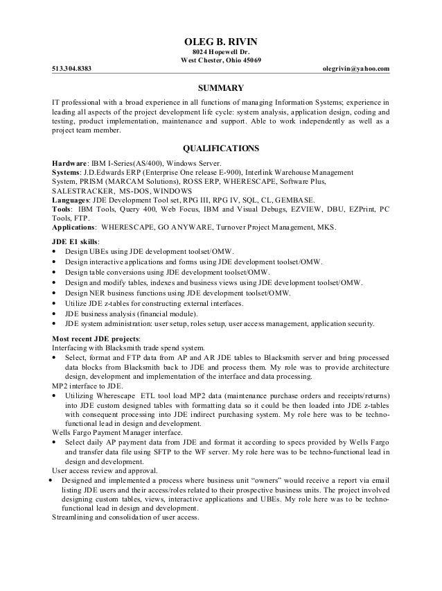 Jde developer resume