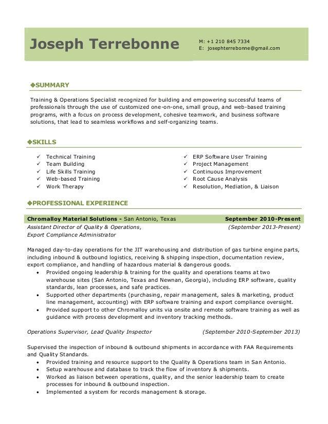 resume  training  u0026 operations specialist
