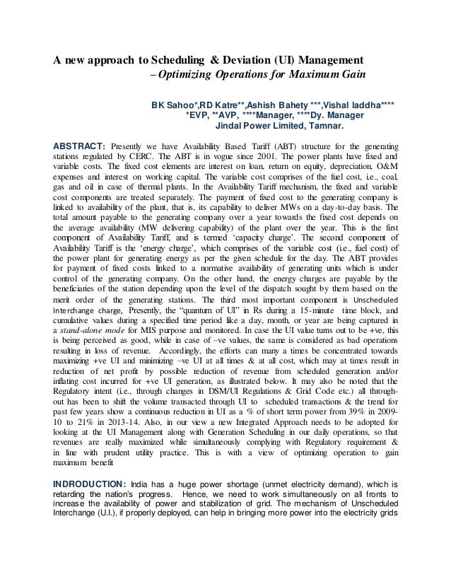 A new approach to Scheduling & Deviation (UI) Management – Optimizing Operations for Maximum Gain BK Sahoo*,RD Katre**,Ash...