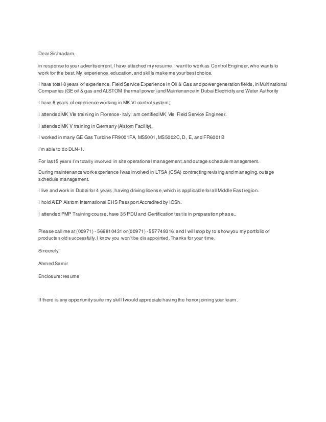Control Engineer-Cover Letter