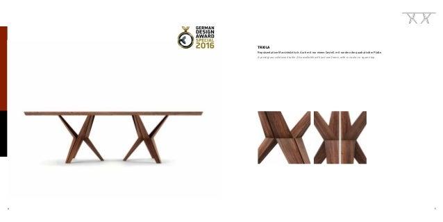 4 5 TRIOLA Repräsentativer Massivholztisch. Auch mit nur einem Gestell, mit runder oder quadratischer Platte. A prestigiou...