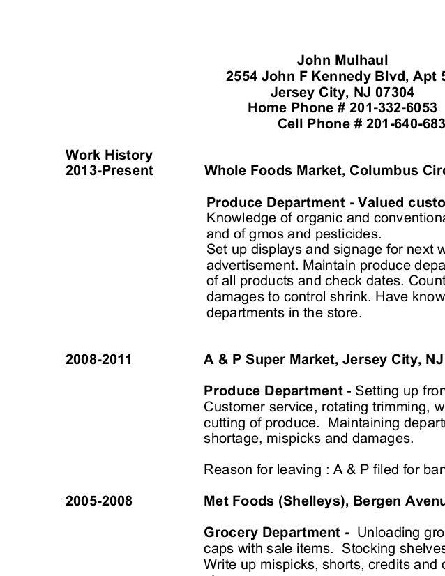 whole foods resume