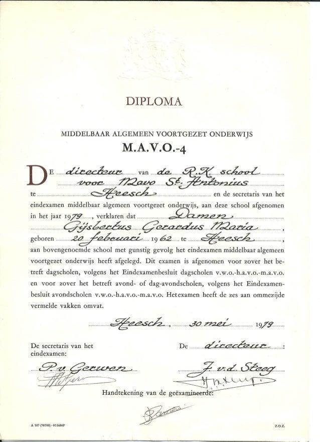 mavo diploma  scan mavo diploma 1979